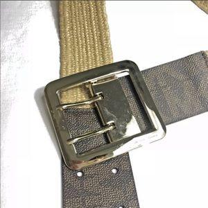MICHAEL KORS Gold Buckle Stretch Belt Womens L